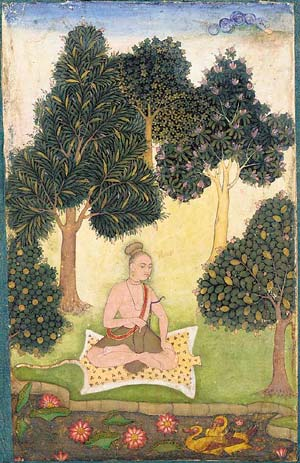 A Yogi seated in a garden