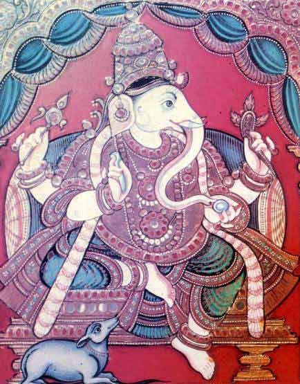 Ganesha: elephant-headed, wise, with mouse as his vehicle