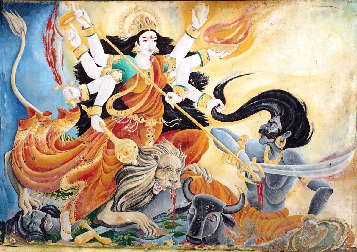 Mural of Durga at Pashupathninath in Nepal