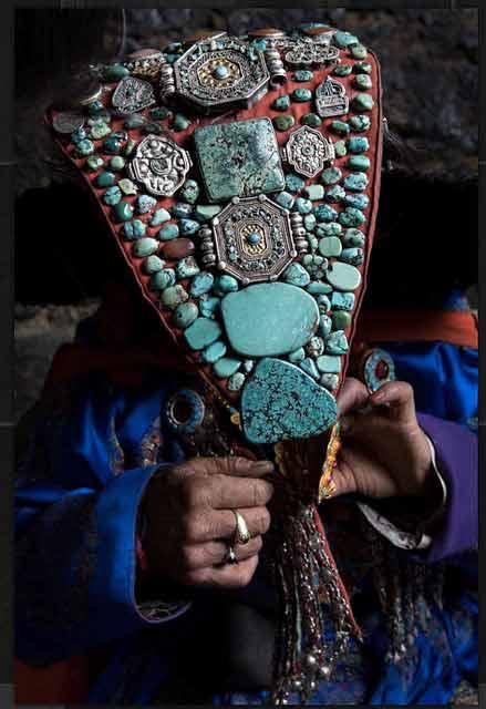Ladakhi Woman Adjusting her Perak