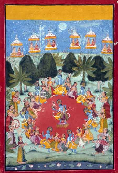 Krishna's Dance of Delight (Rasa Lila). Rajasthan, Bundi, India. ca. 1675-1700