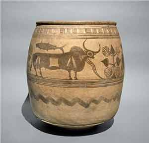 Clay jar with painted sacred bull