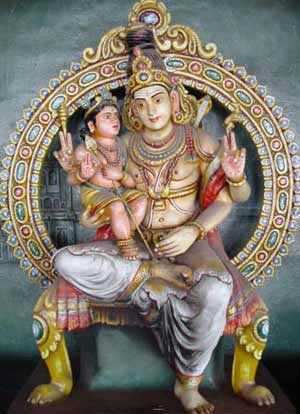 Lord Shiva and His son Lord Murugan appears as the student and the teacher of Pranava respectively by R.K.K. Rajarajan