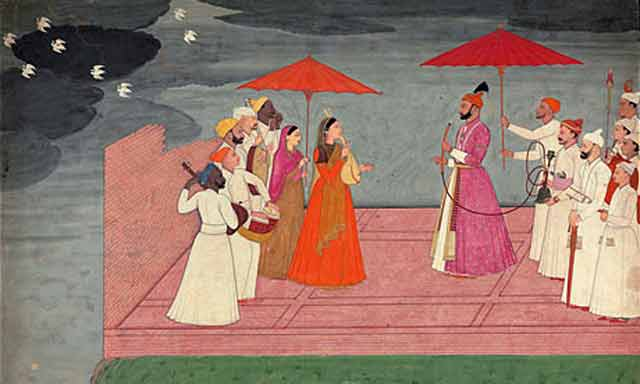 Nainsukh of Guler. Musicians playing a Raga for Balwant Dev Singh during the Rainy Season