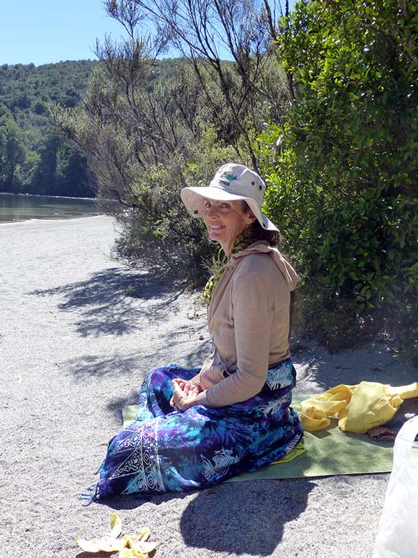 Meditating on the Shore of Lake Rotopounamu in New Zealand (photo by Virochana)