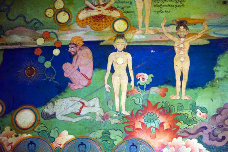 Detail from Lykhang murals showing meditation on internal and external lights by Ian Baker