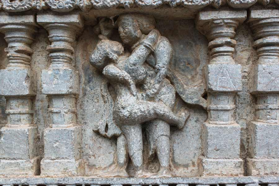 Temple Carving of Shiva and Paravati from Halebid, Karnataka