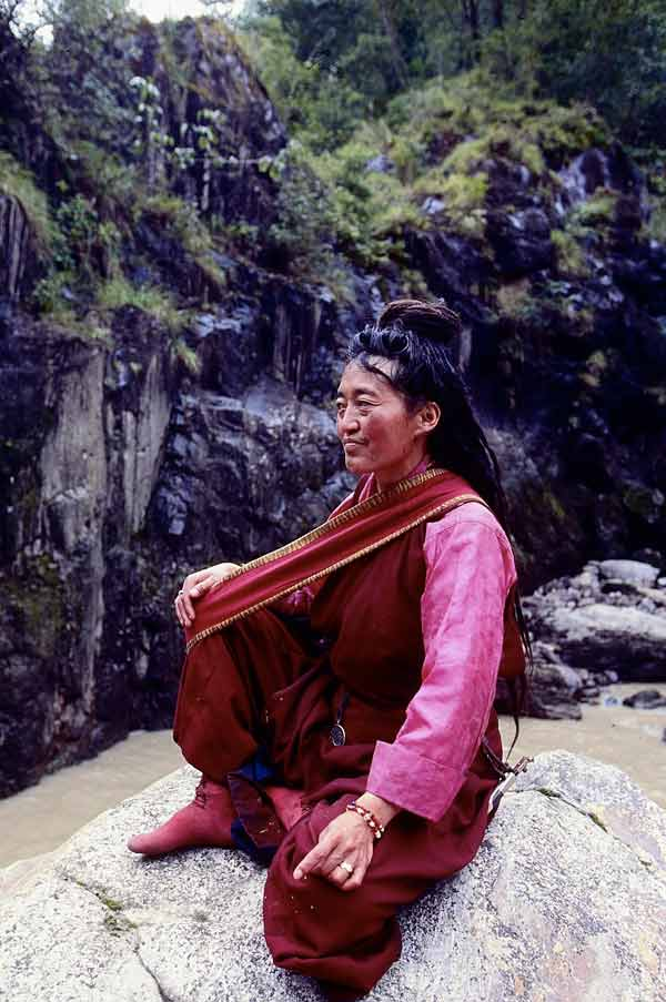 Tibetan Yogini meditating with belt for support