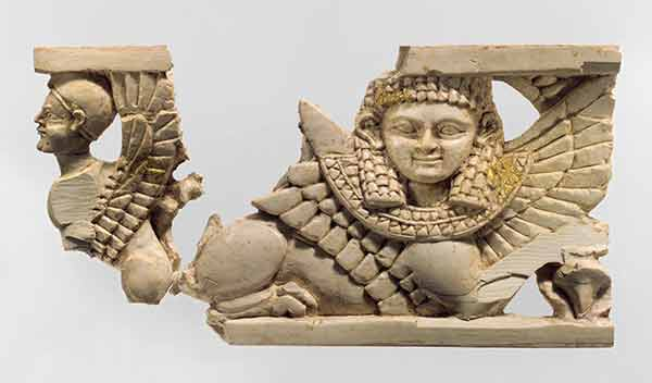 furniture plaque with two sphinxes Assyria
