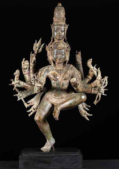 Dancing 5 Faced Shiva Statue