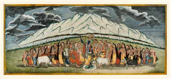 Krishna holding Mount Govardhana