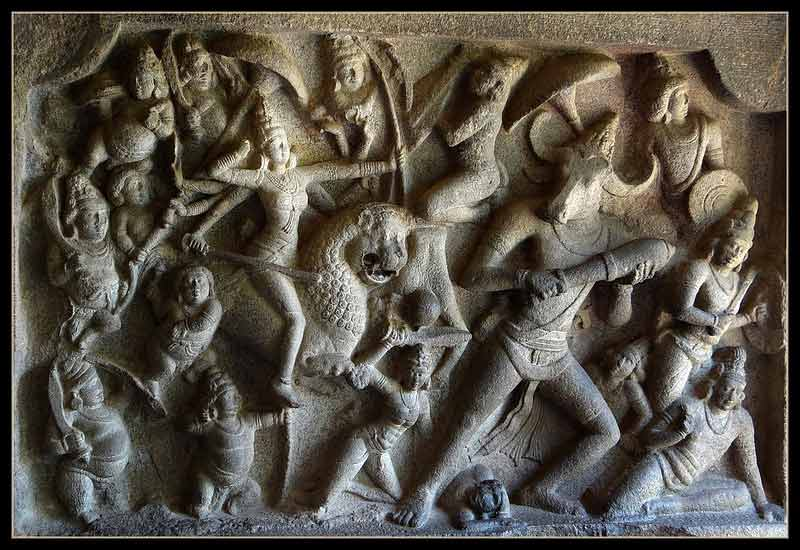 Mahishasura Mardini panel in Mahishasura Mardini Cave