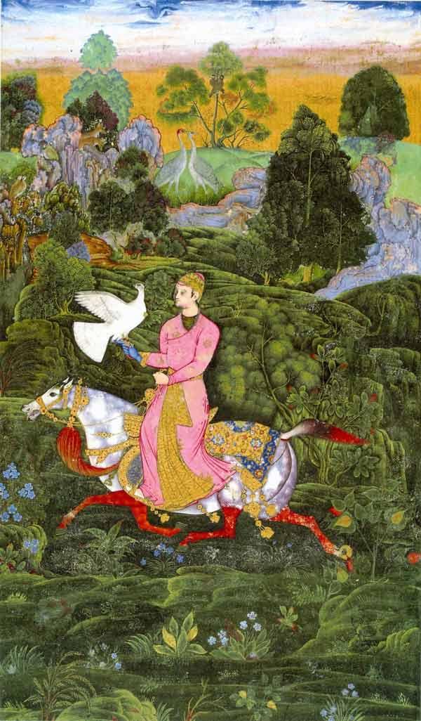 Farrukh Beg. Sultan Ibrahim Adil Shah II Khan hawking