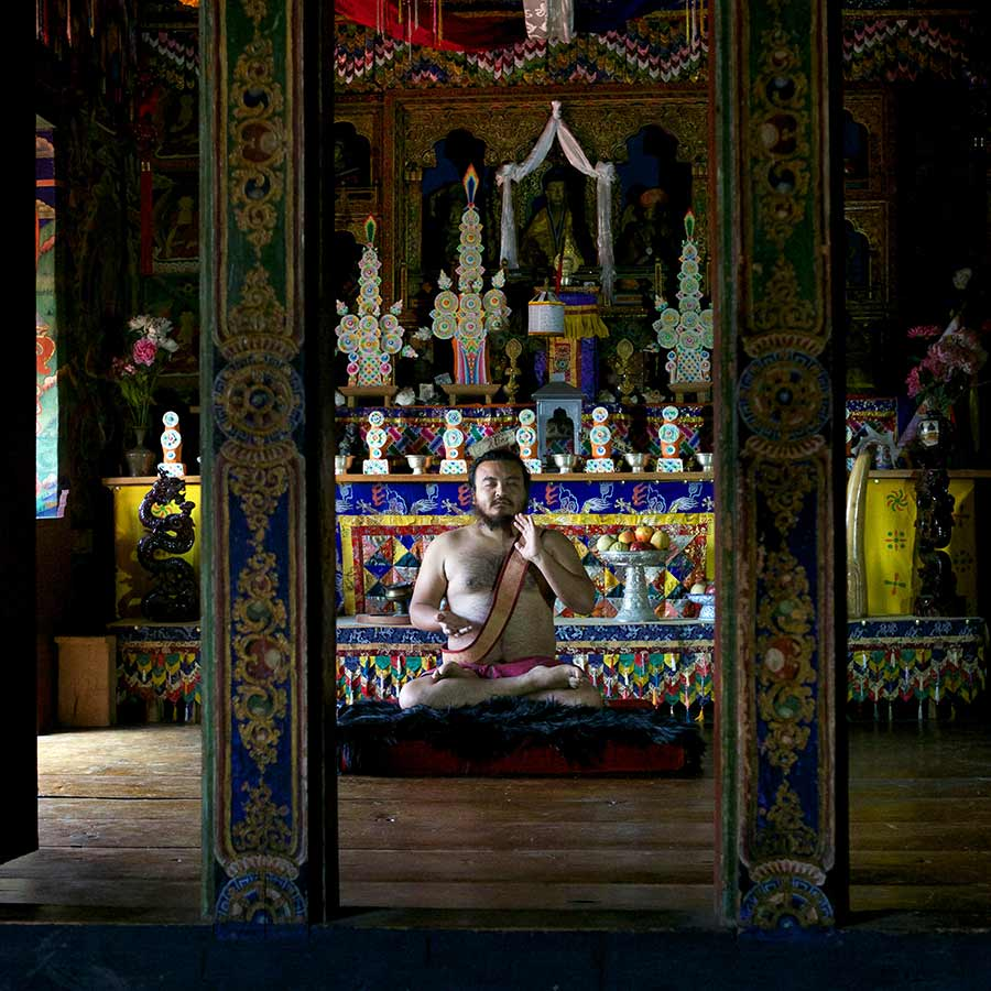 Bhutanese Yogi in Temple